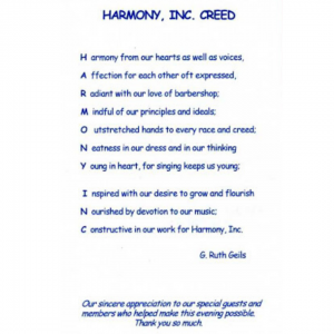 Reflections on our Harmony Creed